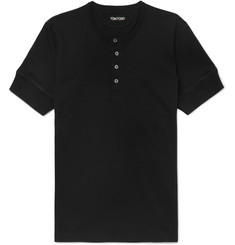 TOM FORD - Slim-Fit Cotton-Jersey Henley T-Shirt