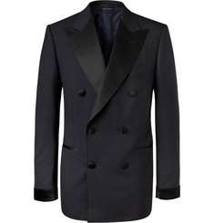 TOM FORD Midnight-Blue Shelton Slim-Fit Double-Breasted Super 120s Wool Tuxedo Jacket
