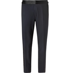 TOM FORD Midnight-Blue Shelton Slim-Fit Satin-Trimmed Super 120s Wool Tuxedo Trousers
