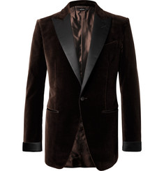 TOM FORD - Brown O'Connor Slim-Fit Satin-Trimmed Cotton-Velvet Tuxedo Jacket