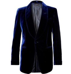 TOM FORD Navy Shelton Slim-Fit Velvet Tuxedo Jacket