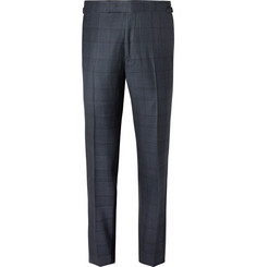 TOM FORD Navy Slim-Fit Prince of Wales Checked Wool Suit Trousers