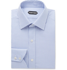TOM FORD Blue Slim-Fit Puppytooth Cotton Shirt