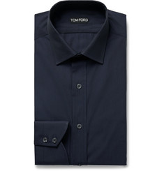 TOM FORD Navy Slim-Fit Cotton-Poplin Shirt
