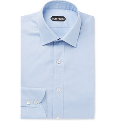 TOM FORD - Light-Blue Slim-Fit Prince of Wales Checked Cotton Shirt