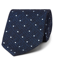 TOM FORD 8cm Embroidered Polka-Dot Textured-Silk Tie