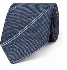 TOM FORD 8cm Striped Silk and Linen-Blend Tie