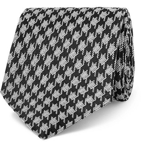 8cm Dogtooth Silk And Linen Blend Tie by Tom Ford