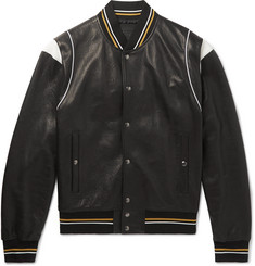 Givenchy Logo-Jacquard Appliquéd Leather Bomber Jacket