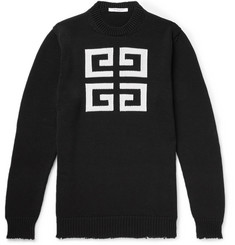 Givenchy Distressed Logo-Intarsia Cotton Sweater