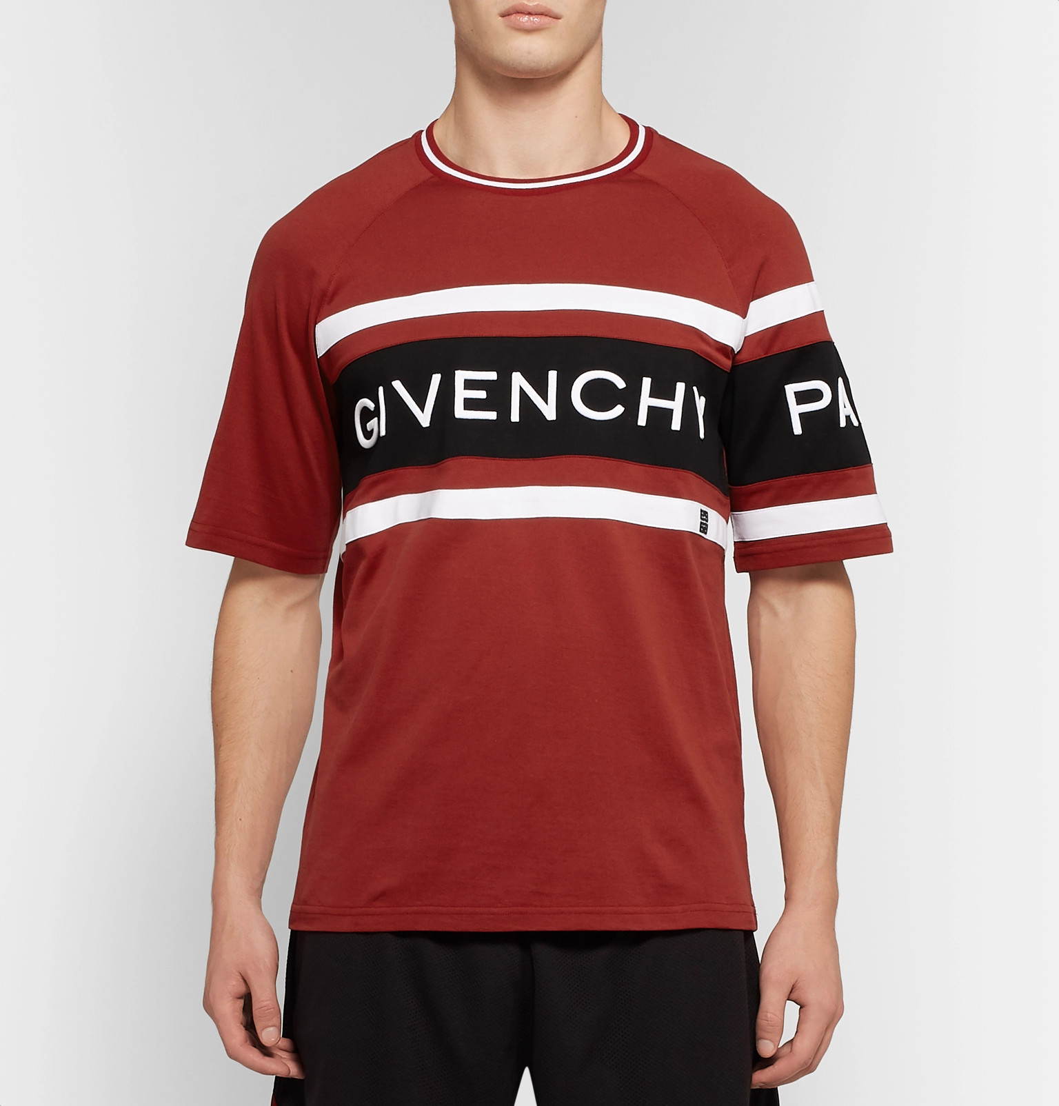 10f3e626 Givenchy - Logo-Embroidered Striped Cotton-Jersey T-Shirt