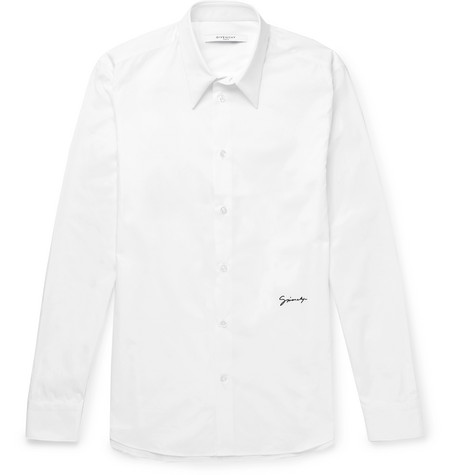 Slim Fit Logo Embroidered Cotton Shirt by Givenchy