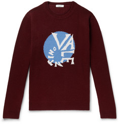 Valentino Oversized Logo-Intarsia Virgin Wool and Cashmere-Blend Sweater
