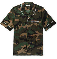 Valentino Camp-Collar Piped Camouflage-Print Cotton-Poplin Shirt