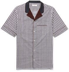 Valentino Camp-Collar Printed Cotton-Poplin Shirt