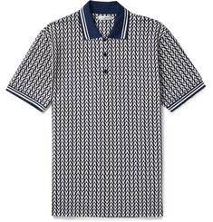 Valentino Stripe-Trimmed Logo-Jacquard Cotton-Piqué Polo Shirt