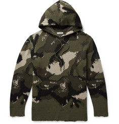 Valentino - Distressed Camouflage-Jacquard Virgin Wool-Blend Hoodie