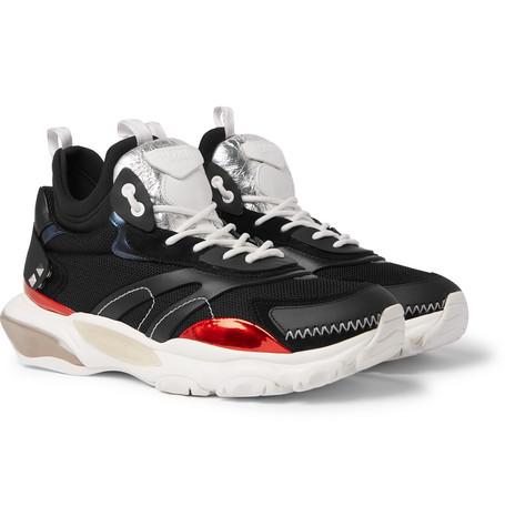 Valentino Garavani Bounce Metallic Leather, Mesh, Suede And Neoprene Sneakers - Black