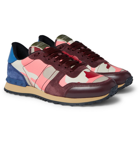 Valentino Valentino Garavani Rockrunner Camouflage-Print Canvas, Leather and Suede Sneakers