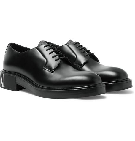 Valentino Garavani Logo-print Leather Derby Shoes - Black
