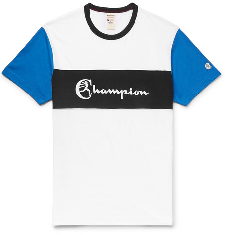 Logo Print Striped Cotton Jersey T Shirt by Todd Snyder + Champion