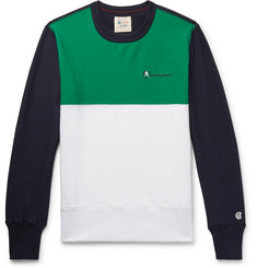 Todd Snyder + Champion Logo-Embroidered Colour-Block Loopback Cotton-Jersey Sweatshirt