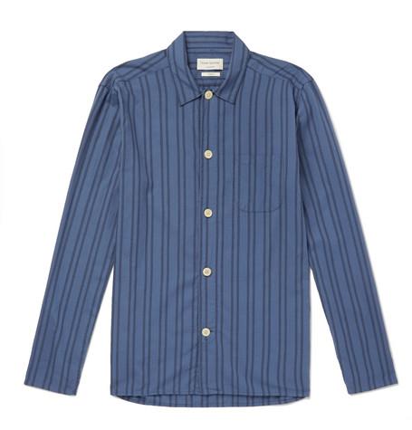 OLIVER SPENCER LOUNGEWEAR Medway Striped Organic Cotton Pyjama Shirt in Blue