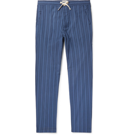 OLIVER SPENCER LOUNGEWEAR Medway Striped Organic Cotton Pyjama Trousers in Blue