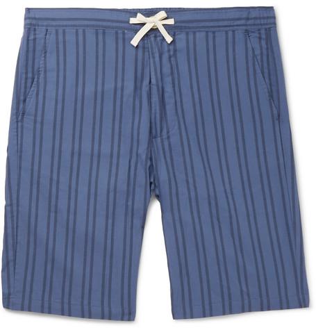 OLIVER SPENCER LOUNGEWEAR Striped Organic Cotton Pyjama Shorts in Blue