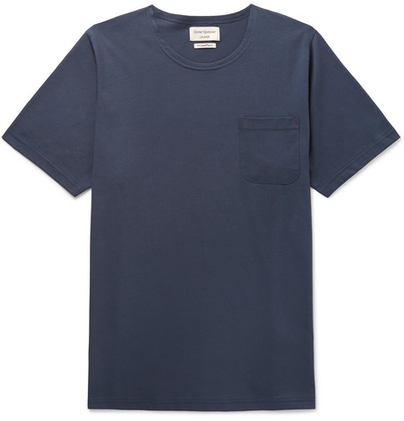 OLIVER SPENCER LOUNGEWEAR York Supima Cotton-Jersey T-Shirt in Navy