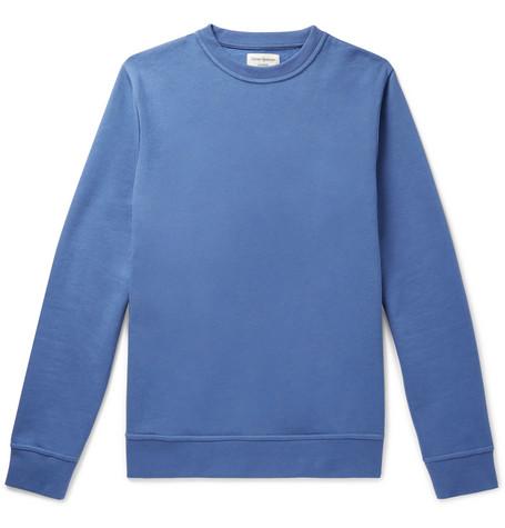OLIVER SPENCER LOUNGEWEAR Harris Fleeceback Cotton-Jersey Sweatshirt in Light Blue