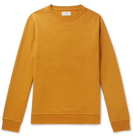 OLIVER SPENCER LOUNGEWEAR Harris Fleeceback Cotton-Jersey Sweatshirt in Yellow