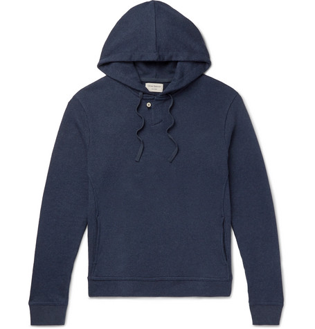OLIVER SPENCER LOUNGEWEAR Ribbed Cotton-Jersey Hoodie in Navy