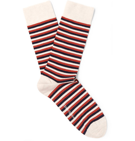 OLIVER SPENCER LOUNGEWEAR Miller Striped Stretch Cotton-Blend Socks in Red