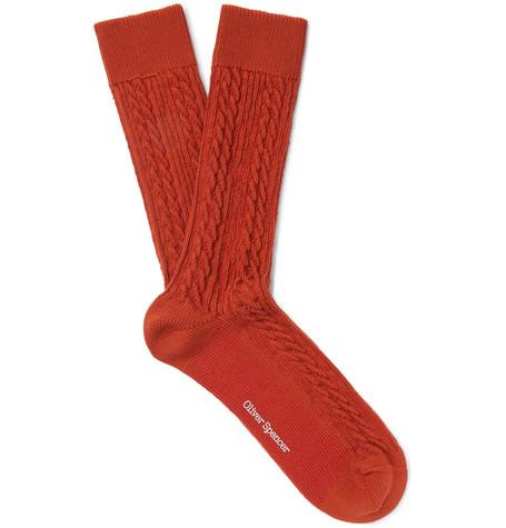 OLIVER SPENCER LOUNGEWEAR Miller Cable-Knit Stretch Cotton-Blend Socks in Orange