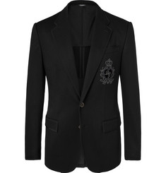 Dolce & Gabbana Black Slim-Fit Embellished Satin-Jersey Blazer