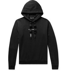 Dolce & Gabbana Slim-Fit Logo-Embroidered Loopback Cotton-Jersey Hoodie