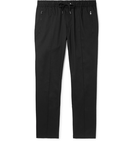 Dolce & Gabbana Slim-Fit Tapered Stretch-Cotton Twill Drawstring Trousers