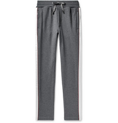 Dolce & Gabbana Slim-Fit Satin-Trimmed Logo-Appliquéd Loopback Cotton-Jersey Sweatpants