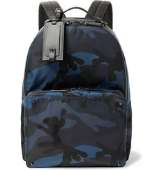 Valentino Valentino Garavani Leather-Trimmed Camouflage-Print Nylon Backpack