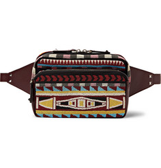 Valentino Beaded Twill and Leather Belt Bag