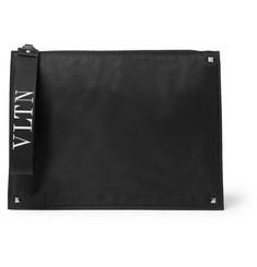 Valentino Garavani Rockstud Leather-trimmed Shell Pouch - Black