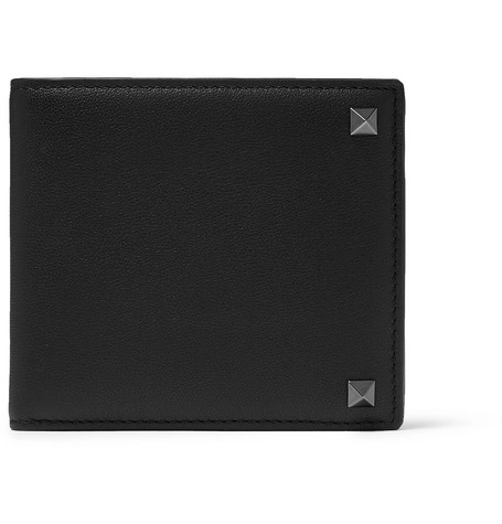 Valentino – Valentino Garavani Rockstud Leather Billfold Wallet – Black