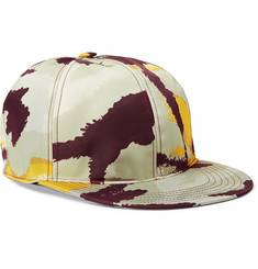 Valentino Camouflage-Print Shell and Leather Baseball Cap