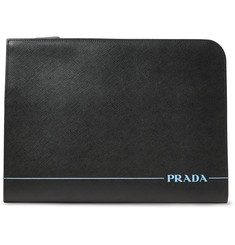 Prada Logo-Print Saffiano Leather Zip-Around Pouch