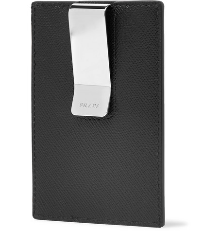 Saffiano Leather Cardholder With Silver Tone Money Clip by Prada