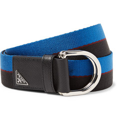 Prada 3.5cm Saffiano Leather-Trimmed Striped Canvas Belt