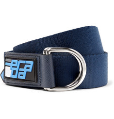 Prada - 3cm Navy Saffiano Leather-Trimmed Canvas Belt