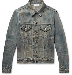 John Elliott Thumper III Distressed Paint-Splattered Denim Jacket