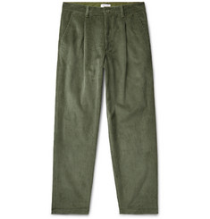John Elliott Tuck Wide-Leg Pleated Cotton-Corduroy Trousers
